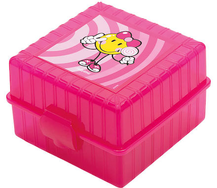 Lunch Box pink Girl 13x13x8cm SMILEY