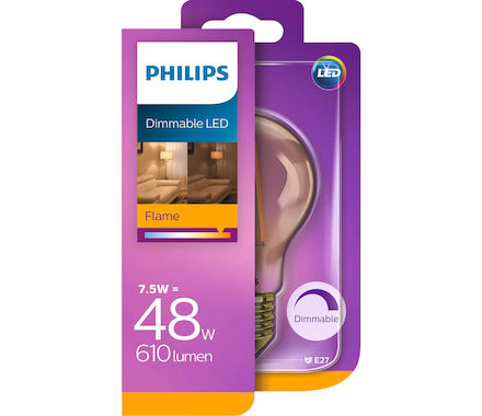 Philips Filament LED7.5W (48W) E27 dimm.