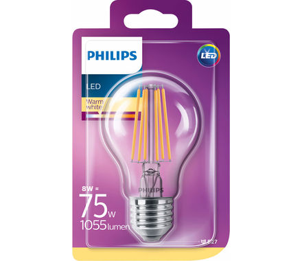 Philips Fil. LED 8W (75W) E27 transp. cb