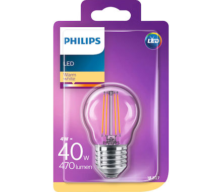 Philips Fil. Kugel LED 4W(40W) E27 ww