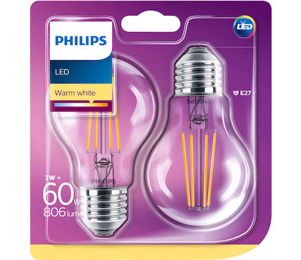 Philips Fil. LED 7W (60W) E27 Duo cb