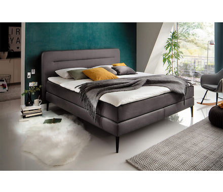 boxspringbett annabe bezug stoff anthrazit b 162 t 208 h 118 cm box bonellfederkern h he 15 cm. Black Bedroom Furniture Sets. Home Design Ideas
