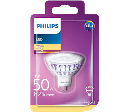 Philips LED Réfl. 7W (50W) MR16 36° cb