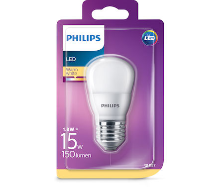 Philips LED Sphéri. 1.8W(15W)E27 cb tap.