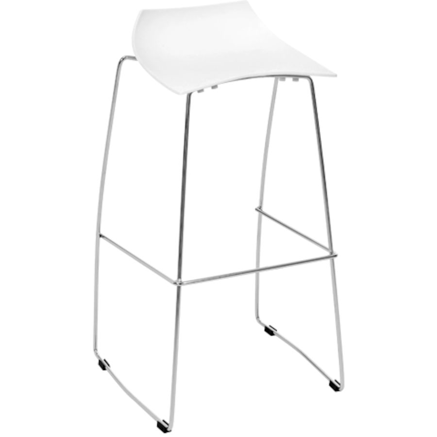 tabouret de bar cadeira plastique blanc l 38 p 35 h 85 cm. Black Bedroom Furniture Sets. Home Design Ideas