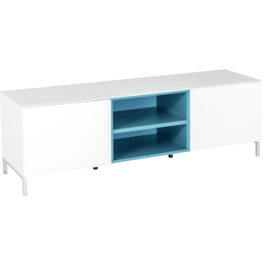 meuble tv roma mat riau d riv du bois blanc l 150 p 41 h 41 cm niche ouvert ral bleu de 39 leau. Black Bedroom Furniture Sets. Home Design Ideas