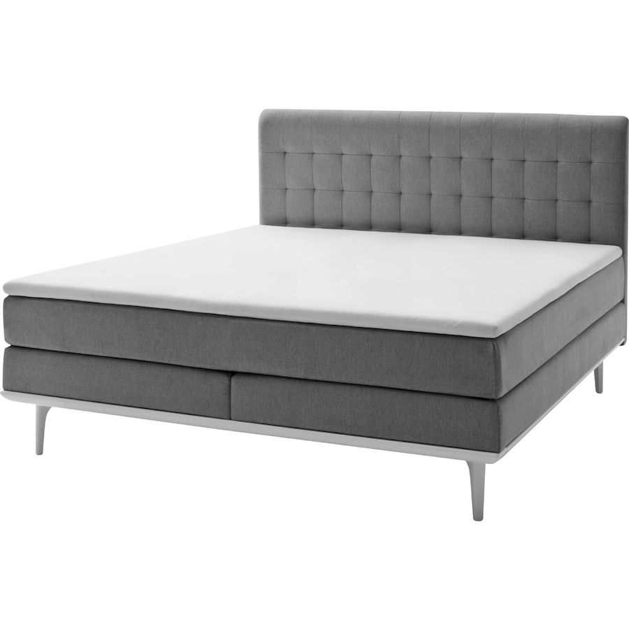 boxspringbett annabe bezug stoff hellgrau b 142 t 208 h 118 cm box bonellfederkern h he 15 cm. Black Bedroom Furniture Sets. Home Design Ideas