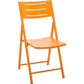 Chaise plieable acier rouge clair orange