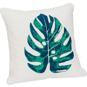 Cuscino Largo 44x44cm Leaf summer blue